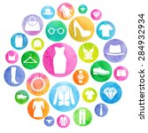 clothing store watercolor icons.... | Shutterstock .eps vector #284932934