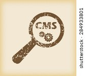 grungy brown icon with text cms ...