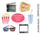 set of vector watercolor... | Shutterstock .eps vector #284941331