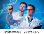 group of geneticists working at ... | Shutterstock . vector #284953577