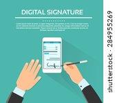 digital signature smart cell... | Shutterstock .eps vector #284955269