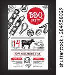 barbecue party invitation. bbq... | Shutterstock .eps vector #284958029