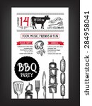 barbecue party invitation. bbq... | Shutterstock .eps vector #284958041
