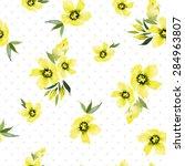 watercolor flowers. seamless... | Shutterstock .eps vector #284963807