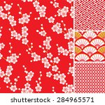 japanese pattern set. seamless... | Shutterstock .eps vector #284965571