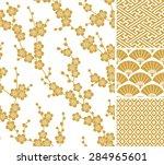 japanese pattern set. seamless... | Shutterstock .eps vector #284965601
