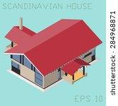 scandinavian isometric house ... | Shutterstock .eps vector #284968871