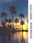 sunset at tropical beach resort ... | Shutterstock . vector #284971991