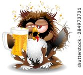 drunk owl fun cartoon | Shutterstock .eps vector #284973731