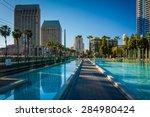 walkway and modern skyscrapers... | Shutterstock . vector #284980424