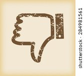 grungy brown icon with dislike...