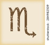 grungy brown icon with scorpio...