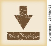 grungy brown icon with download ...