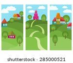 three vertical banners with