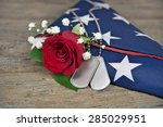 Red Rose And Military Dog Tags...