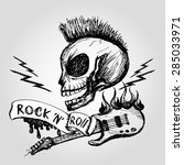 rock and roll skull guitar .... | Shutterstock .eps vector #285033971