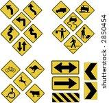 vector warning road signs | Shutterstock .eps vector #2850454
