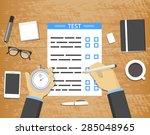 self assessment concept   hands ...   Shutterstock .eps vector #285048965