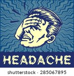 retro dizzy man suffering from... | Shutterstock .eps vector #285067895