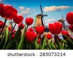 the famous dutch windmills.... | Shutterstock . vector #285073214