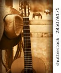 Small photo of American country music background with cowboy hat and guitar