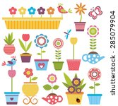 cute spring colorful flowers in ... | Shutterstock .eps vector #285079904