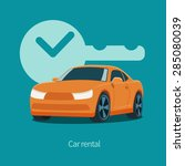 vector orange car and key with... | Shutterstock .eps vector #285080039