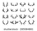 Vector Deer Antlers Black Icon...