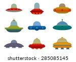 flat ufo spaceships set  vector | Shutterstock .eps vector #285085145