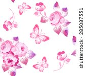 seamless pattern roses and... | Shutterstock . vector #285087551