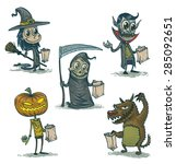 happy halloween characters set  ... | Shutterstock .eps vector #285092651
