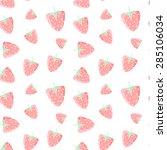 cute seamless strawberry...   Shutterstock .eps vector #285106034