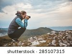 woman photographer is taking a... | Shutterstock . vector #285107315