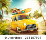 funny retro car with surfboard... | Shutterstock . vector #285107939