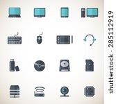 computer  parts icon set  ...