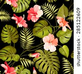 seamless tropical flower.... | Shutterstock .eps vector #285122609