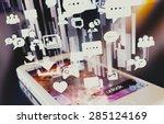 smartphone emitting holographic ... | Shutterstock . vector #285124169