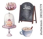 watercolor restaurant interior... | Shutterstock .eps vector #285129779