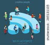 public free wi fi hotspot zone... | Shutterstock .eps vector #285131105