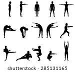 black sport silhouettes | Shutterstock .eps vector #285131165