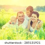happy joyful young family... | Shutterstock . vector #285131921