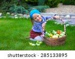 little girl with baskets full...   Shutterstock . vector #285133895