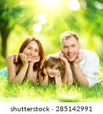 happy joyful young family... | Shutterstock . vector #285142991