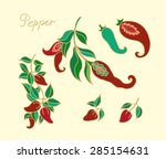 set of  stylized peppers | Shutterstock .eps vector #285154631