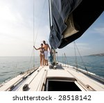 happy couple relaxing on a... | Shutterstock . vector #28518142
