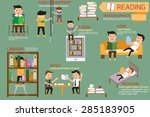 people reading the books in... | Shutterstock .eps vector #285183905