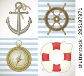 set of colorful vector sailing... | Shutterstock .eps vector #285187871