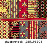 set of  abstract vector floral... | Shutterstock .eps vector #285198905