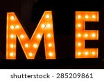 me word with glowing light...   Shutterstock . vector #285209861