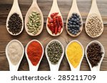 Aromatic Spices On Wooden...